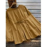 Женщины Винтаж Хлопковая блузка с эластичной резинкой на талии и шнуровкой