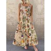 Vintage Kadın Kolsuz O-Boyun Çiçek Baskı Maxi Elbise