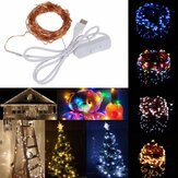 10M 100 impermeabile USB LED Fairy String Rame Wire HoliDay Light con interruttore per decorazioni per feste