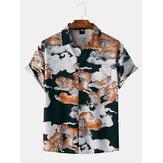 メンズファッションタイガー印刷折り襟通気性半袖カジュアルシャツ