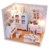 Wooden DIY Handmade Assemble Miniature Doll House Kit Toy with LED Light Dust Cover for Gift Collection Home Decoration
