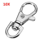 10Pcs 38mm Silver Zinc Alloy Swivel Lobster Claw Clasp Snap Hook with 8mm Round Ring