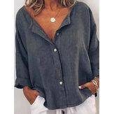 Kadınların gündelik v yaka uzun kollu düğme düz renk bluz