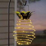 Ananas LED solare Lanterna sospesa impermeabile leggera in metallo bianco caldo decorativo da giardino all'aperto lampada