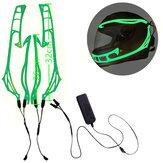 4-in-18色オートバイLEDナイトライディングシグナルヘルメットELコールドライト3モードLEDヘルメットライトストリップデコレーションキットバー