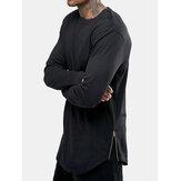 メンズベーシックコットンプレーンサイドジッパーラウンドネックカジュアル長袖Tシャツ