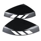 زوج واحد من غطاء مرآة الرؤية الخلفية باللون الأسود اللامع غطاء مرآة جانبية حافظة تعديل السيارة إضافة على لأودي A3 S3 RS3 جميع الموديلات 2014-2020