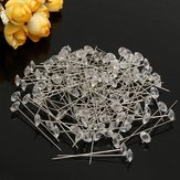 100pcs Clear Diamante Flowers Pins Wedding Bouquet Supplies Diamond Corsage Florist Craft