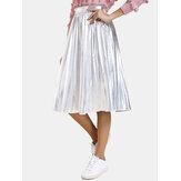 Women Solid Color Elastic Waist A-line Pleated Skirts