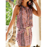 Ethnic Floral Print Halter Sleeveless Mini Dress