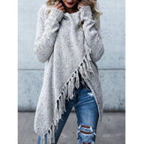 Women Winter Warm Long Sleeve Tassel Sweater Coats Outwears