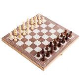 Składane drewniane współczesne międzynarodowe szachy 3 w 1 30x30 cm Zabawna składana planszowa rodzinna gra z szachami