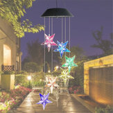 Solor Powered Star Wind Chime Light al aire libre Jardín Impermeable Colgante Lámpara Decoración