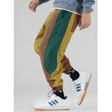 Mens Corduroy Tricolor Patchwork Pocket Drawstring Jogger Pants