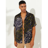 Mens Funny Leopard Print Chest Pocket Short Sleeve Casual Loose Fashion Shirts