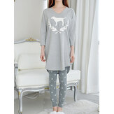 Women Abstract Print V-Neck Long Sleeve Grey Two Piece Pajama Set