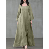 Women Solid Color Square Neck Ruffles Sleeve Zipper Loose Casual Maxi Dress