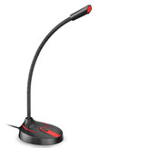 Jies F12 Gooseneck Desktop Computer 360o Omnidirectional Gaming Microphone Version USB pour PC Laptop Office