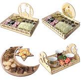Decorações de madeira rústicas do suporte das placas de jantar da pastelaria da bandeja do serviço do Ramadan do Islão do alimento