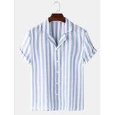 Banggood Design Men Cotton Stripe Lane Print Short Sleeve Revere Shirts