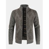 Mens Graphics Warm Knitting Stand Collar Long Sleeve Sweater Jacket