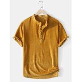 Corduroy heren effen kleur textuur korte mouw casual Henley shirts