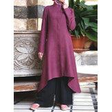Camisas maxi musulmanas delanteras abotonadas con dobladillo irregular de color sólido Vestido