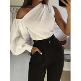 Casual Asymmetrical Shoulder Lantern Sleeve Solid Tops Shirts For Women
