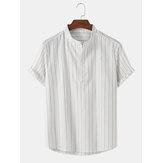 Mens Vertical Stripes Stand Collar Short Sleeve Half Open Button Henley Shirts