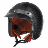 Casco moto Open Face 3/4 Retro Vintage PU Leather Adulto Nero Marrone