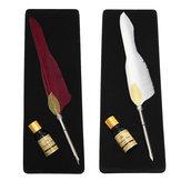 Antiguo puro ganso pluma pluma de inmersión canilla y la tinta conjunto de papelería caja de regalo