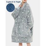 Frauen Stern Muster Flauschige Flanell tragbare Decke Kapuzenpullover Fleece gefüttert warm übergroß Robe