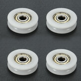 4pcs 5x24x7mm U Groove Nylon Round Pulley Wheel Roller For 3.8mm Rope Ball Bearing