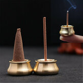 Cono incenso Mini Rame Cono bastone Supporto per bruciatore Piatto Censer Tower Bowl Meditation Decor
