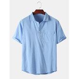 Erkek 100% Pamuk Düz Renk Cep Tasarım Kısa Kollu Rahat Henley Gömlek