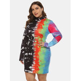 Plus-formaat kleuren inkjetprint Halflange kraagpakket Hip Dress
