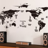 World Map Wall Stickers Removable PVC Map of the World Art Decals para a sala de estar Home Decor