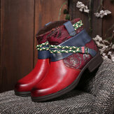 SOCOFY Printed Outdoor Woven Rope Splicing Side-zip Round Toe Block Heel Ankle Boots
