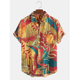 Chemises à manches courtes pour hommes Vertical Line Leaves Colorful Hawaii Holiday