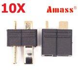 Stecker männlich und weiblich Amass AM-1015B Anti-Rutsch-Schwarz T Plug 10 Paar