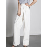 Casual plisado de color sólido suelto de cintura alta para mujer Pantalones