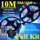 3M/5M/10M RGB 3528 SMD LED Strip Light Non-waterproof Full Kit Lamp + 44 Key IR Remote Controller +US Power Adapter