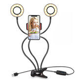 Flexible 9cm USB Charging 3 Color LED Ring Light Live Broadcast Selfie Fill Light with Mobile Phone Holder