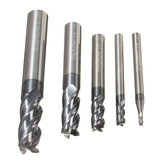 5pcs Tungsten Carbide 4 Flutes End Mill Cutter Straight Shank 2-10mm Milling Cutter Set CNC Tool