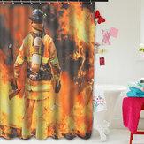 Decoraçãoàprovad'águada casa dos bombeiros Design Banheiro da cortina de chuveiro da tela do poliéster