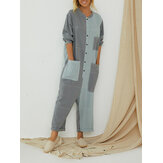 Plus Size Women Hit Color Patchwork Button Casual Jumpsuit with Pockets