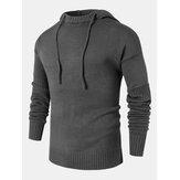 Suéteres con capucha y mangas recortadas de color sólido para hombre Diseño