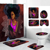 3D Printing African Woman Shower Curtain Set with Non-slip Rug Toilet Lid Cover Bath Mat for Bathroom Decor