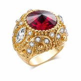 Vintage Finger Ring Round Gemstone Zircon Gold Geometric