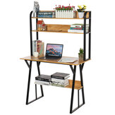 2 in 1 Computer Desk Storage Shelf Modren Student Writing Study Table Office Workstation Home Laptop Desk Bookshelf